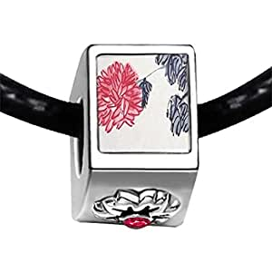 Chicforest Silver Plated Chrysanthemum Painting Photo Red Zircon Crystal July Birthstone Flower Charm Beads Fits Pandora Bracelet