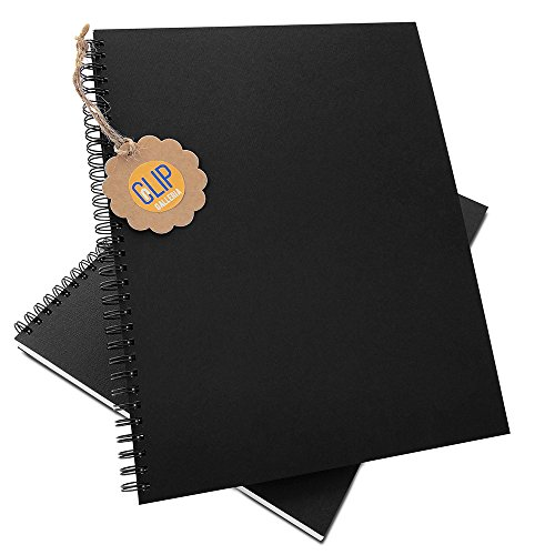 Clip Galleria Unruled Notebook Bound with Twin Loop Wire, Authentic yet Sustainable Felt Finish Soft Cover Paper 8.5 x 11 Inches Letter Size, Blank White Paper (Black, 2 Pack, 70 - White Galleria The Plains