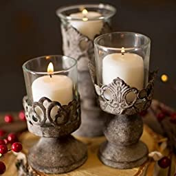 Antiqued Candle Holders, Metal with Glass Inserts, 3 Sizes, Set of 6