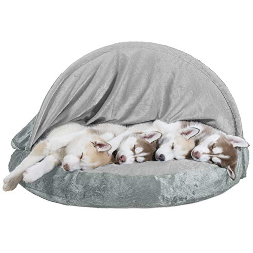 (FurHaven Pet Dog Bed | Orthopedic Round Microvelvet Snuggery Burrow Pet Bed for Dogs & Cats, Gray, 35-Inch)