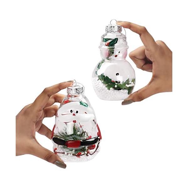 Palle di Natale Plastica (Set da 12)- Palline di Natale Trasparenti Forma Babbo Natale e Pupazzo Neve, 4 Cadauno per Decorazioni Natalizie, Addobbi per Feste di Compleanno, Addobbi Natalizi per Albero 3 spesavip
