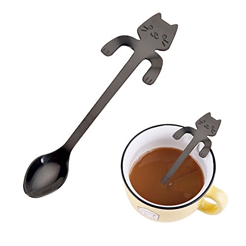 Bluelans Stainless Steel Cute Cat Hanging Cup Design Coffee Drink Spoon Kitchen Tableware -
