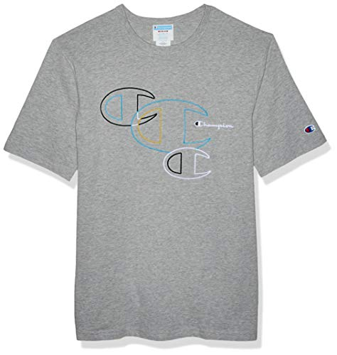 (Champion LIFE Men's Heritage Tee, Embroidered C Outlines/Oxford Gray, Small )