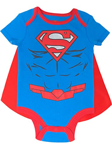 Justice League Superman Baby Boys' Bodysuit and Cape Set with Muscles (Blue, 0-3 Months)