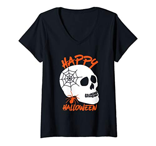 Womens Happy Halloween Human Skull and Spider
