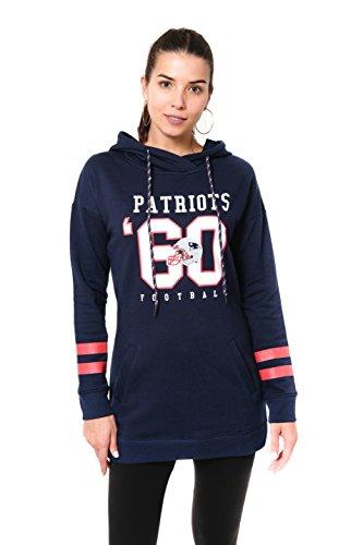 NFL New England Patriots Women's Tunic Pullover Hoodie Sweatshirt, Navy, Medium