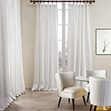 "FirstHomer Premium 2-Layer Plain Hooks Heading Linen Cotton White Curtain Drapery (1 Panel) In 50""Wx120""L"