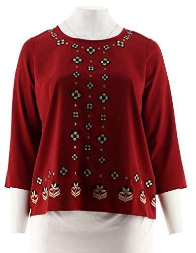 Bob Mackie Embroidered Woven Georgette Top A293821, Paprika, (Bob Mackie Embroidered Blouse)
