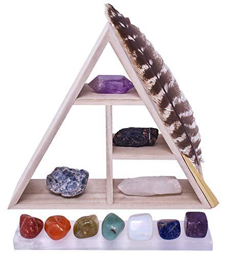 Crystal Clearers Abundance Metaphysical ™ Premium Crystal Healing Set | Raw Wood Triangle Display with Selenite Plate…