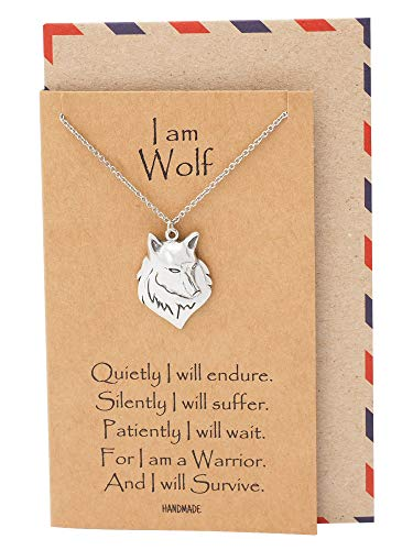 Quan Jewelry Wolf Necklace, Nature Inspired Pendants, Inspirational Gifts, Wolf Spirit Necklace]()