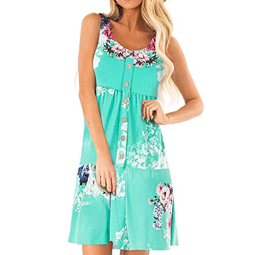 1/4 Warm Up Zip Jacket - TIFENNY Mid Dress for Women Casual Crewneck Sleeveless A-line Floral Print Loose Evening Party Dresses Daily Wear Dresses Green