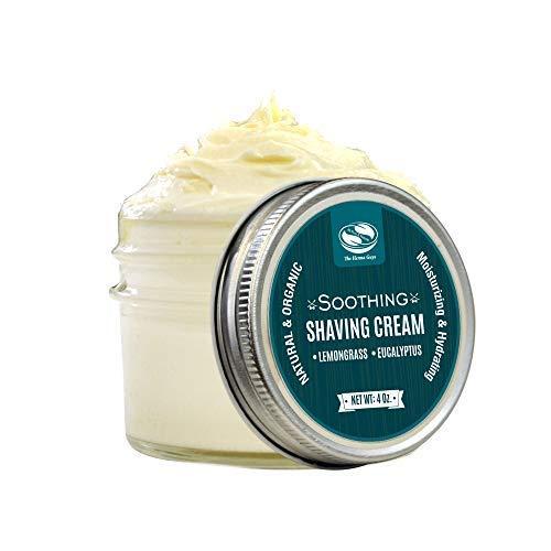 4 fl. Oz Lemongrass & Eucalyptus Shaving Butter, Naturally Moisturizing & soothing shave, Excellent Shave Butter for Men & Women with Sensitive Skin