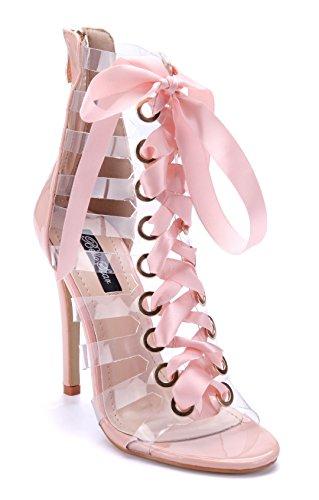 75662ca712d844 Schuhtempel24 Damen Schuhe Sandaletten Sandalen Stiletto 11 cm High Heels  Rosa