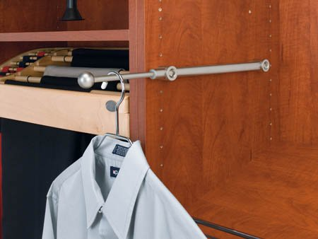 Rev A Shelf Rscvr.14.Sn 13-.88 In. - 21-.88 In. L Rev-A-Shelf Valet Rod With Designer - Satin Nickel