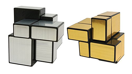 willking 2X2 Unequal Mirror Speed Cube Silver /& Gold Magic Puzzle Toy Collection Black Body Set Of 2 Cubes 50mm youkouking