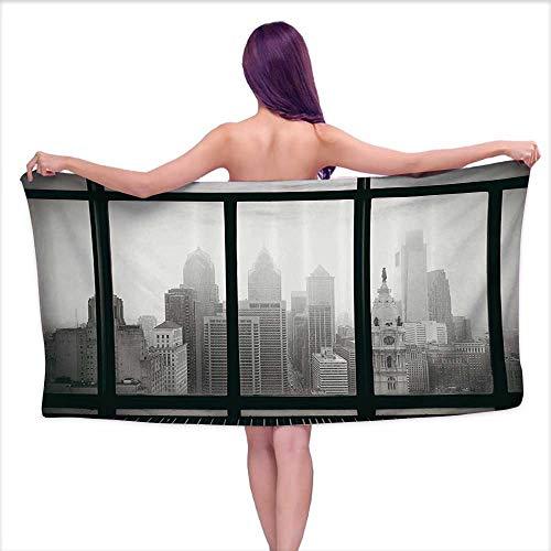 (Aurauiora Bath Towel Set USA,Philadelphia City Rooftop Window View Skyline Landmark Rooftop Travel Cityscape Artsy Print,Gray Black,W20 xL39 for Kids)