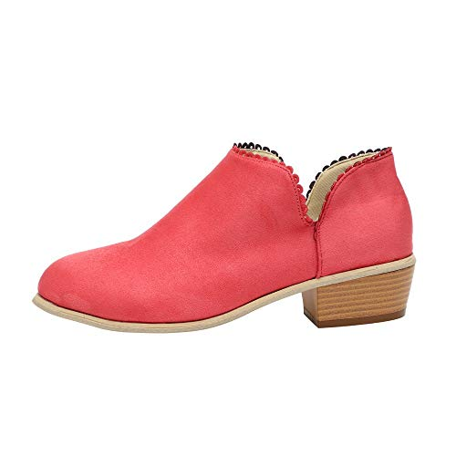 Byste Fashion Women Boots Round Toe Martin Boots Classic Ankle Boots Casual Shoes Camel Shoes Ladies Chunky Blocked Heels Chelsea Boots Riding Biker Wide Culf Womens Flat Ankle Boots Red