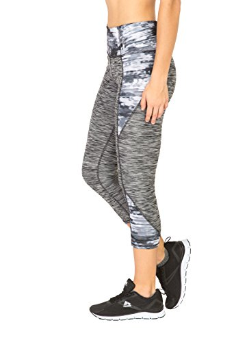 RBX Active Women's Straited Capri with Print Blocking Black Combo L