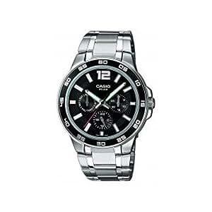 CASIO Collection MTP-1300D-1AVEF - Reloj de caballero de cuarzo, correa de acero inoxidable color varios colores (con luz)