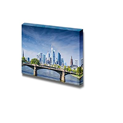 Canvas Prints Wall Art - Skyline of Frankfurt, Germany, The Financial Center of The Country | Modern Wall Decor/Home Art Stretched Gallery Canvas Wraps Giclee Print & Ready to Hang - 24