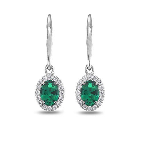 - Sterling Silver Simulated Emerald & White Topaz Dainty Oval Dangle Halo Leverback Earrings