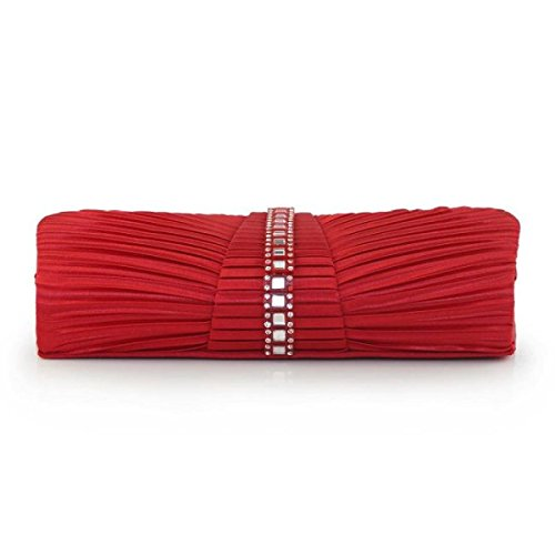 Las Mujeres Boda De La Tarde Del Monedero Del Embrague Cóctel Formal Red