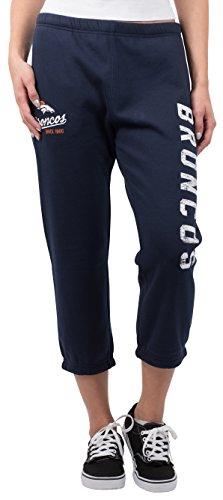 (ICER Brands NFL Denver Broncos Women's Jogger Pants Capri Cropped Fleece Sweatpants, Large, Navy )