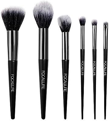 FOCALLURE Set de brochas de maquillaje 6 piezas Pinceles de maquillaje professional fibra sintética/Set de brochas de maquillaje profesional Kit de maquillaje esencial (NEGRO): Amazon.es: Hogar