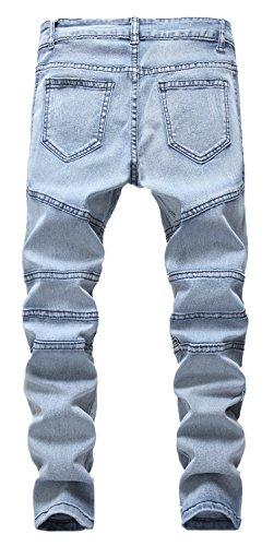 Boy's Ripped Skinny Jeans Destroyed Stretch Slim Distressed Pants Light Blue 8 by JeansNiu (Image #2)