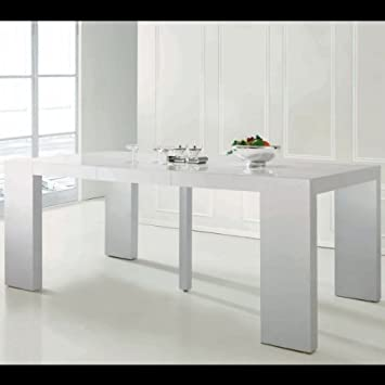table console extensible 3 rallonges shannon blanc laqu - Table Console Extensible Blanc Laque