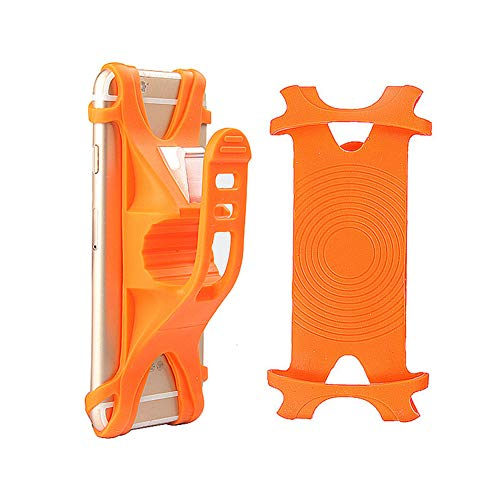 Silicone Bicycle Motorcycles Handlebar Cell Phone Holder Adjustable Bike Phone Mount for iPhone Xs Max, 8/7 / 6S / 6 Plus, Motorola, Samsung, LG,BLU, Universal 4-6.5 inch (Orange)