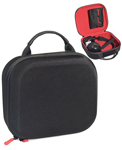 Headphone Protective Carrying Case for Skullcandy Hesh, Hesh 2.0, Hesh 3, Crusher, Uprock, Grind, Navigator, Detachable mesh Pocket with Zip for Amplifier, Cable and Other Accessories, Black