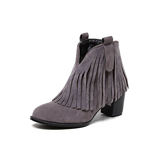 Allhqfashion Women's Solid Imitated Suede Kitten Heels Pull-On Round Closed Toe Boots Gray 8jfMeUP2r