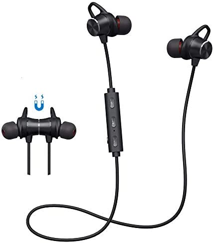 Bluetooth Headphones In-Ear Noise Cancelling Wireless Sports Earphones Slim Workout Magnetic Design Running Headphones Sweatproof 8H Playtime Wireless Earbuds Headphones with Mic for Mobile Phone