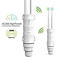 600Mbps Wireless Access Point - Dual Band High Power AC600 Outdoor PoE WiFi Range Extender/Router/Repeater/WiFi Signal Booster Weatherproof Omni-Directional Antennas(Newest)