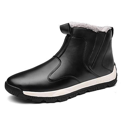 LANSEYAOJI Scarponi da Neve Uomo Invernali Pelliccia Allineato Caloroso Sneaker Impermeabile Antiscivolo Peluche Boots All'aperto High Top Caviglia Stivaletti Moda Scarpe di Pelle Nero