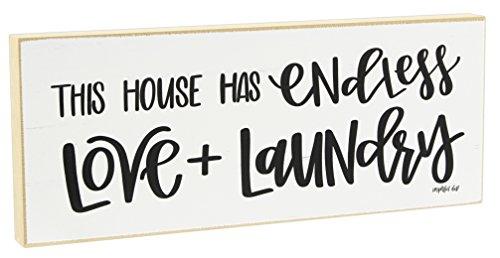 "Jan Michaels 10"" Sentimental Tabletop Wood Block (This House Has Endless Love & Laundry)"