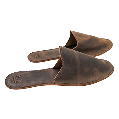 Large Leather House Slippers For Men Handmade by Hide  Drink :: Bourbon Brown (Men's 10.5-12)