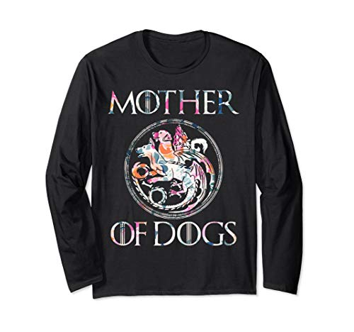 Mother of Dogs Floral Flower T-Shirt Funny Gifts Dogs Lovers Long Sleeve T-Shirt ()