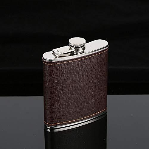 (Braceus Men Faux Leather Wrapped Stainless Steel Vodka Whiskey Alcohol Hip Flask 5-9oz 7oz)