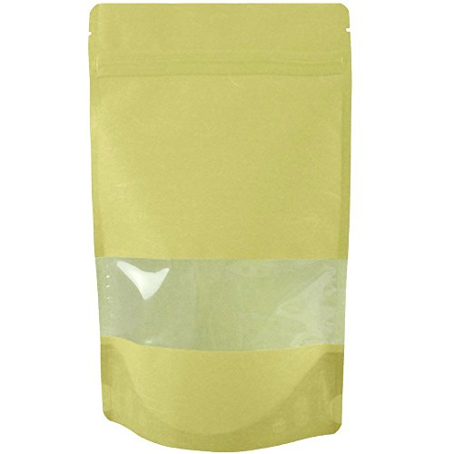 USPak Rice Paper Natural Kraft Stand up Pouches with Window and Zip Lock Food Storage Bag, Pack of 25 (Small - 4 oz)
