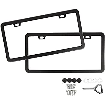 Amazon.com: L-Fine License Plate Frame 2 Pcs 2 Holes Aluminum Slim ...