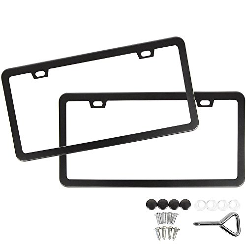 SunplusTrade Two Matte Black Powder Coated Aluminum License Plate Frame with Black Screw Caps