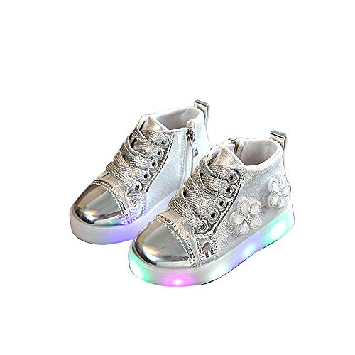 edv0d2v266 Children Kid Girls Boys Led Light Star Luminous Sport Mesh Student Casaul Shoes(Silver 29/11.5 M US Little Kid) by edv0d2v266