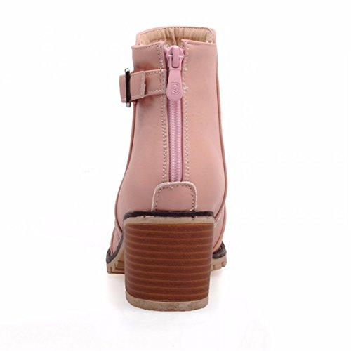 RFF-Women's Shoes Winter and winter buckle zipper short boots, female Korean Edition big code can add high heel Martin boots Pink (with velvet)