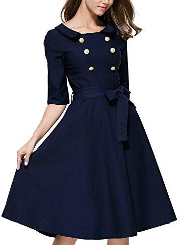 Honeystore Damen Vintage 50er elegantes Abendkleid mit Knöpfe Rockabilly Swing Cocktailkleid Blau mUoI62de