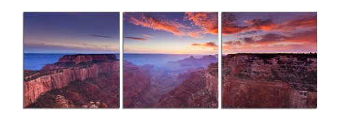 Elementem: Big Photography Prints - Canvas 3 Frame Art: Grand Canyon at Sunset - 5 Feet Wide 3 20 x 20 in. Wall Decor Triptych in Purple, Brown (Office, Home, Living, Dining Room Decor) by Elementem Photography