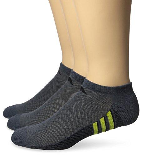 (adidas Men's Climacool Superlite No Show Socks (3-Pack), Dark Grey/Shock Slime Green/Black, Size 6-12)