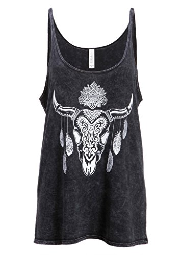 womens-western-boho-bull-with-feathers-and-tribals-loose-fit-tank-top-tee-size-medium