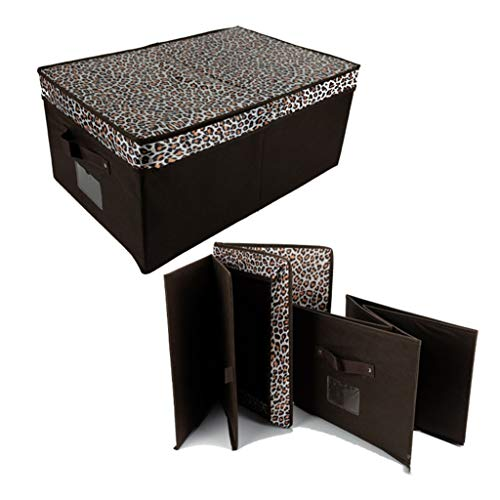 Hate crying Foldable Storage Box Cube Organizer Bins with Label Holders for Clothes Blankets Closets Bedrooms,Oxford Cloth,Leopard Print